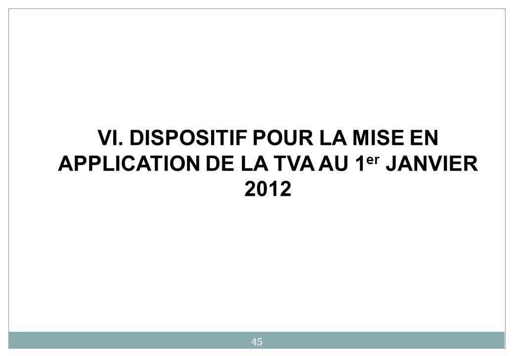 VI. DISPOSITIF POUR LA MISE EN APPLICATION DE LA TVA AU 1er JANVIER 2012