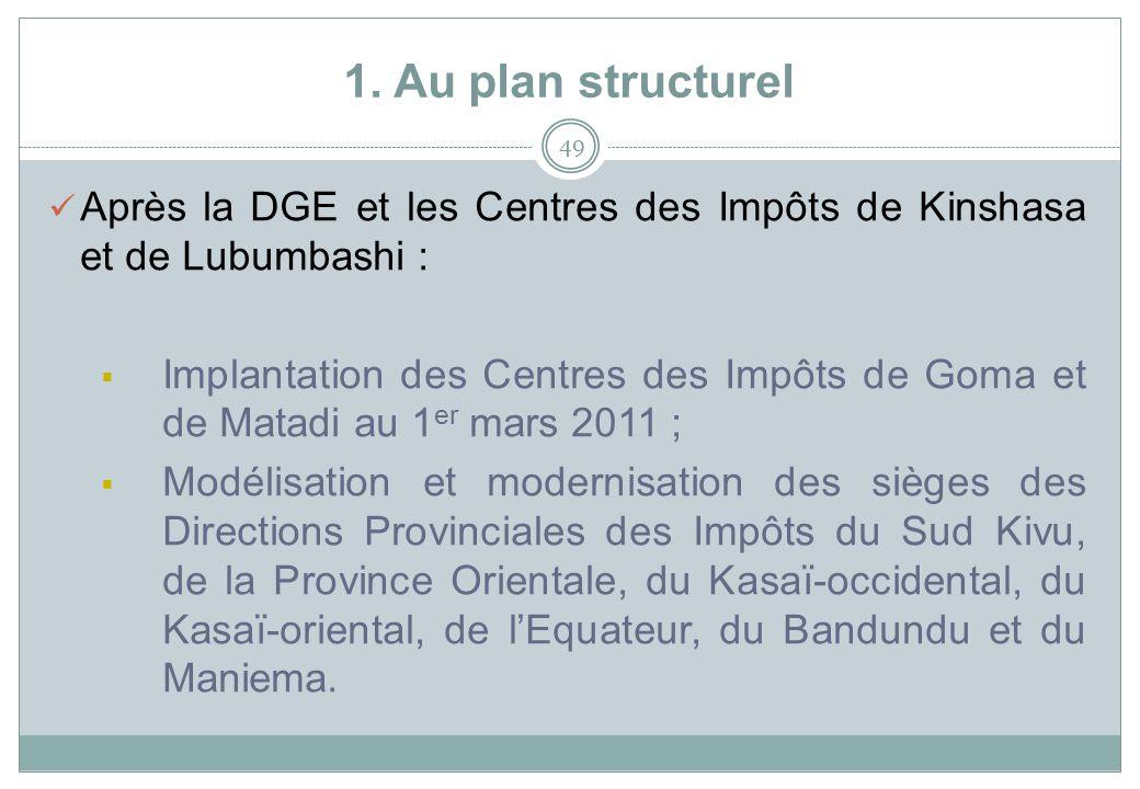 1. Au plan structurel Après la DGE et les Centres des Impôts de Kinshasa et de Lubumbashi :