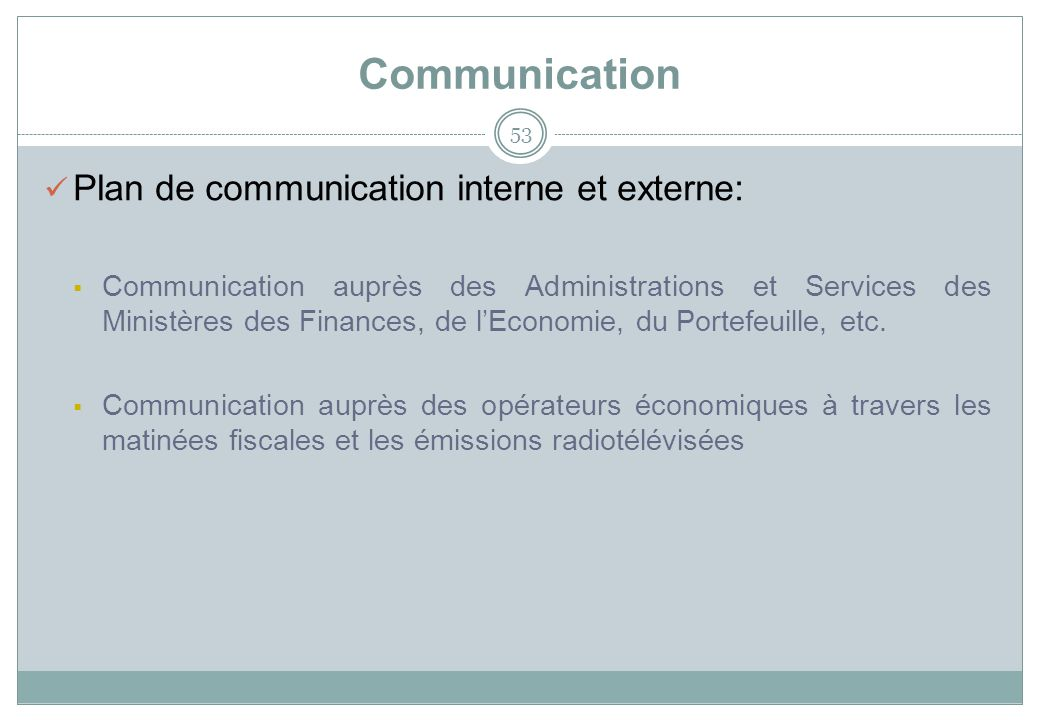 Communication Plan de communication interne et externe:
