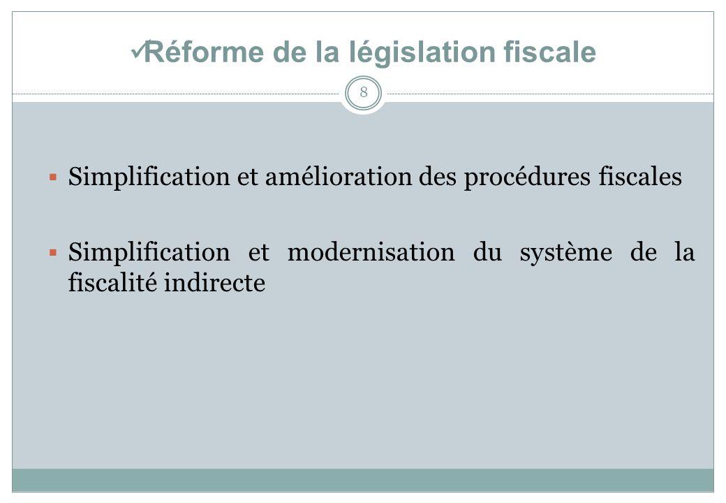 Réforme de la législation fiscale