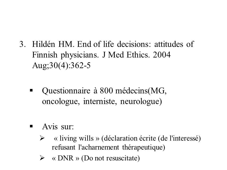 Questionnaire à 800 médecins(MG, oncologue, interniste, neurologue)