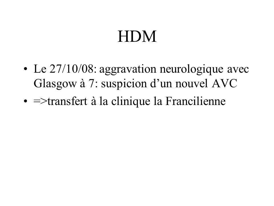 HDM Le 27/10/08: aggravation neurologique avec Glasgow à 7: suspicion d'un nouvel AVC.