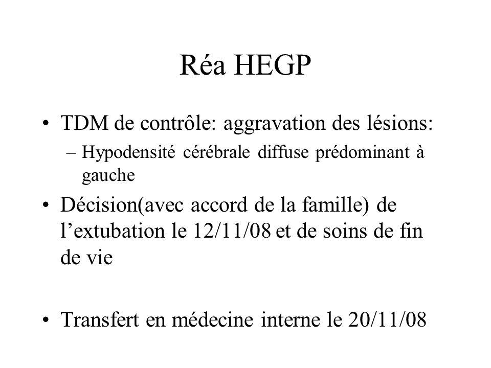 Réa HEGP TDM de contrôle: aggravation des lésions: