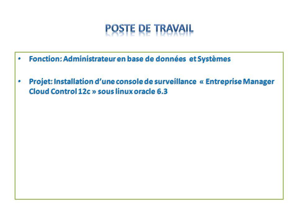 POSTE DE TRAVAIL Fonction: Administrateur en base de données et Systèmes.
