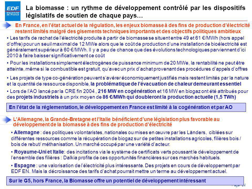 La biomasse : un rythme de développement contrôlé par les dispositifs législatifs de soutien de chaque pays…