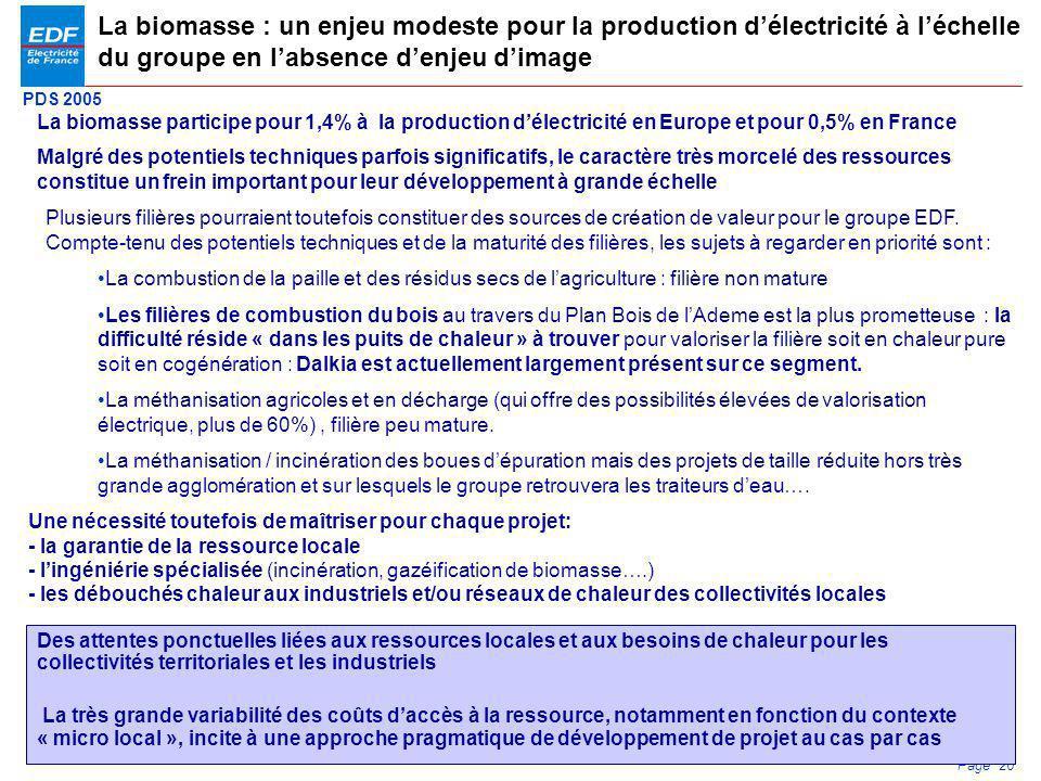 La biomasse : un enjeu modeste pour la production d'électricité à l'échelle du groupe en l'absence d'enjeu d'image