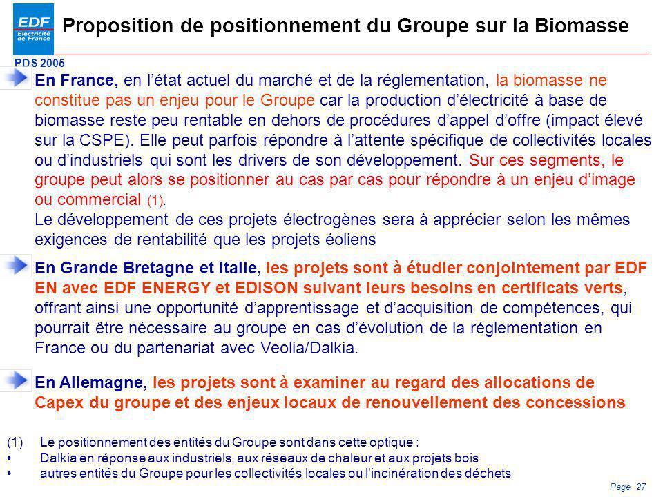 Proposition de positionnement du Groupe sur la Biomasse