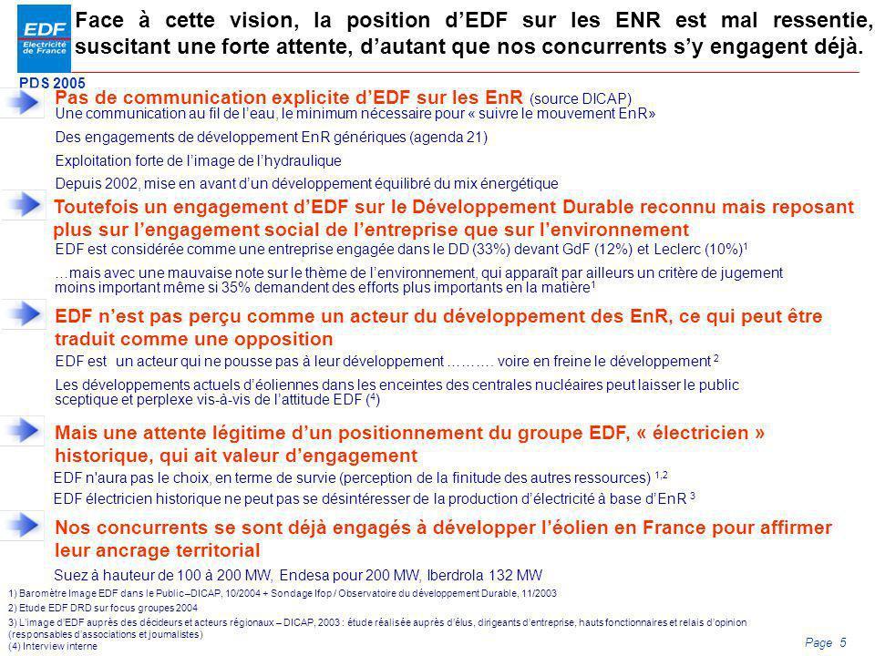 Face à cette vision, la position d'EDF sur les ENR est mal ressentie, suscitant une forte attente, d'autant que nos concurrents s'y engagent déjà.