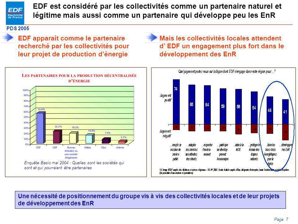 EDF est considéré par les collectivités comme un partenaire naturel et légitime mais aussi comme un partenaire qui développe peu les EnR