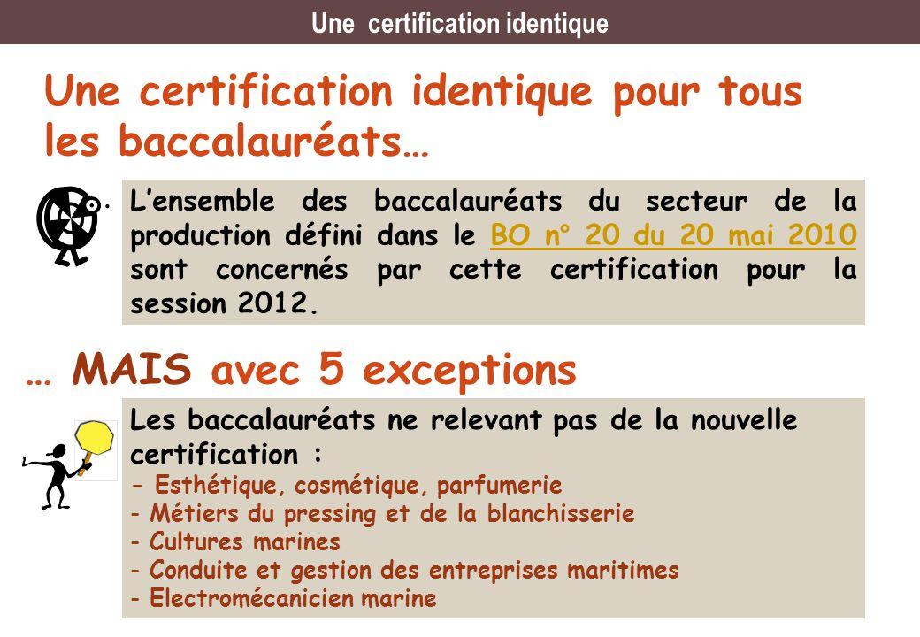 Une certification identique