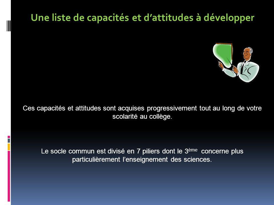 Une liste de capacités et d'attitudes à développer