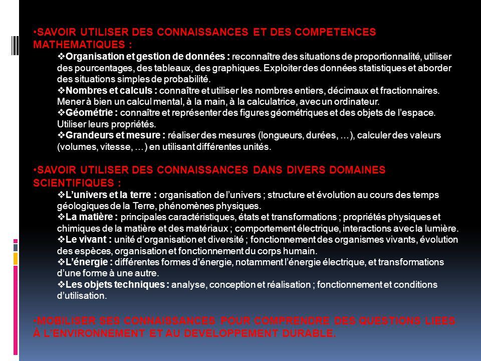 SAVOIR UTILISER DES CONNAISSANCES ET DES COMPETENCES MATHEMATIQUES :