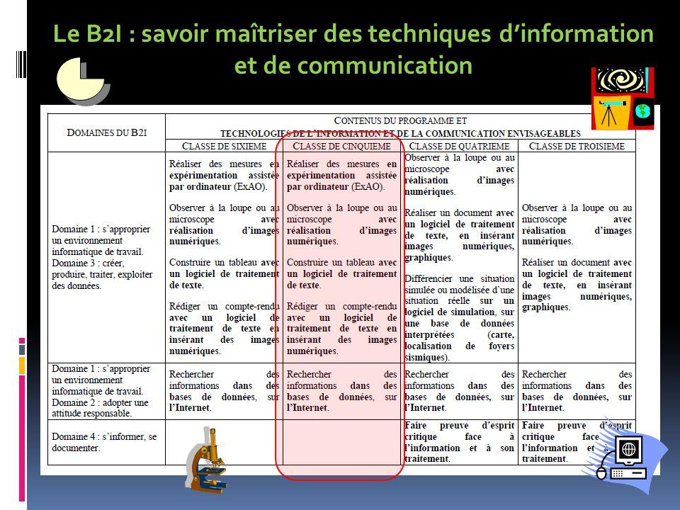 Le B2I : savoir maîtriser des techniques d'information et de communication