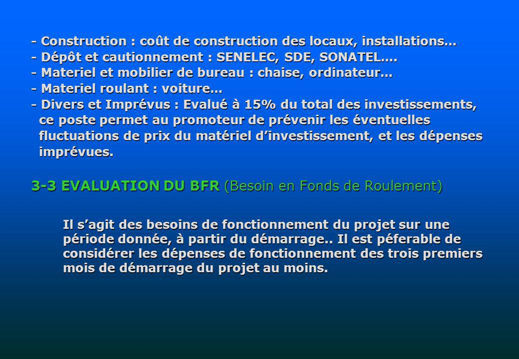 3-3 EVALUATION DU BFR (Besoin en Fonds de Roulement)
