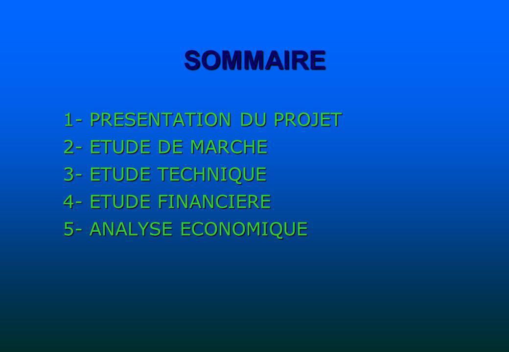 SOMMAIRE 1- PRESENTATION DU PROJET 2- ETUDE DE MARCHE