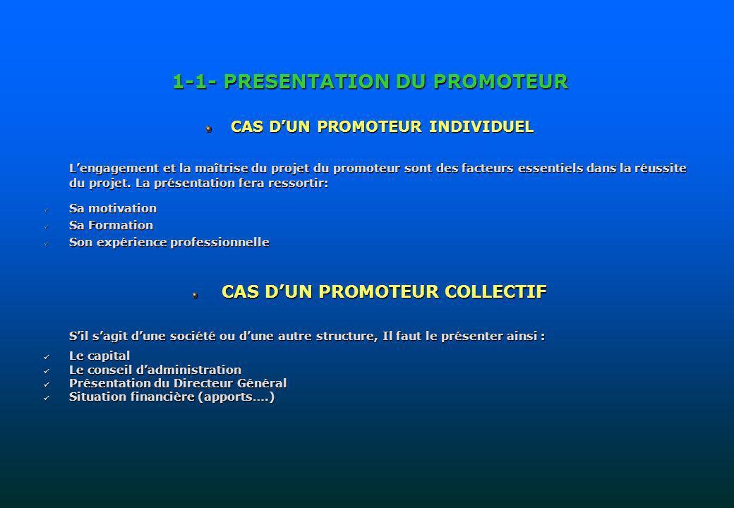 1-1- PRESENTATION DU PROMOTEUR