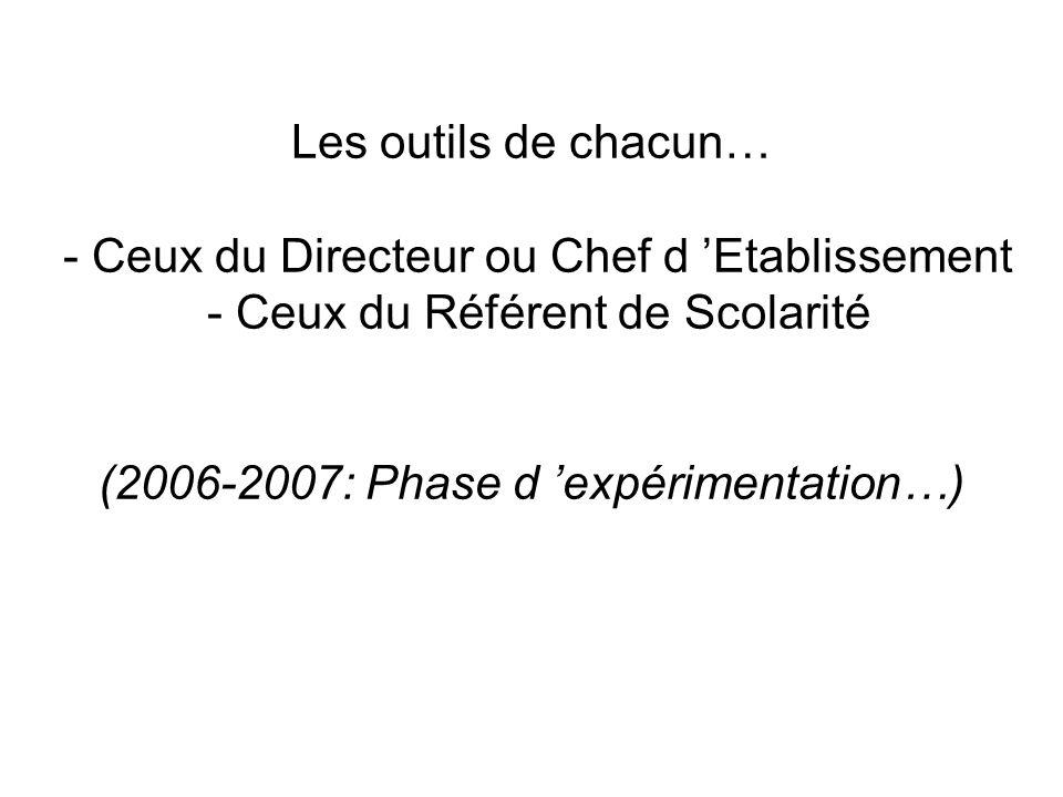 Les outils de chacun… - Ceux du Directeur ou Chef d 'Etablissement - Ceux du Référent de Scolarité (2006-2007: Phase d 'expérimentation…)