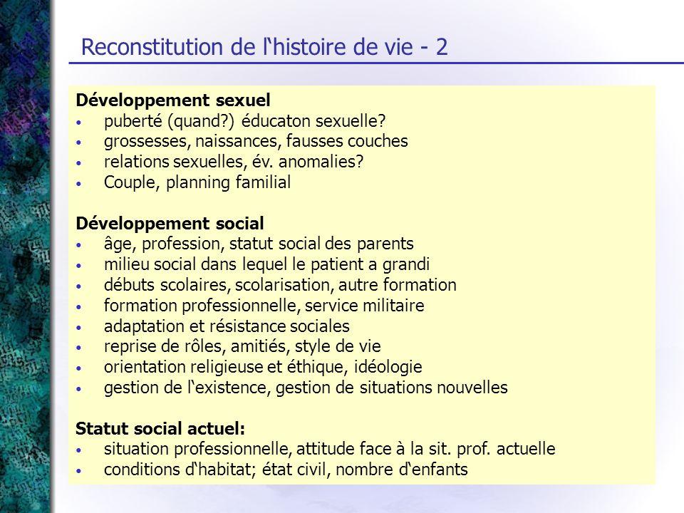 Reconstitution de l'histoire de vie - 2