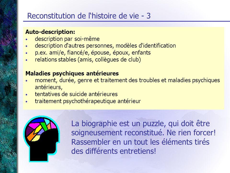 Reconstitution de l'histoire de vie - 3