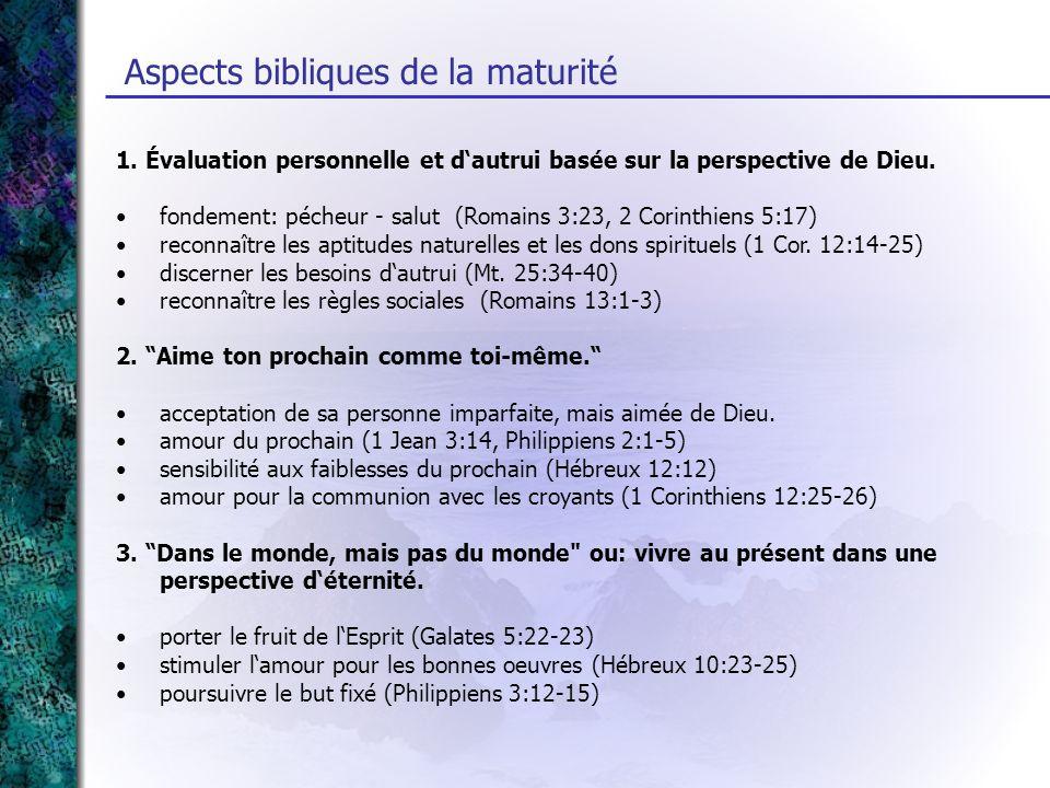Aspects bibliques de la maturité