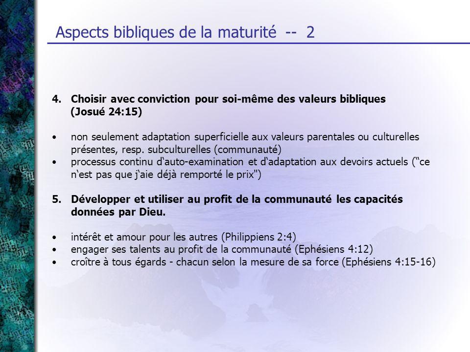 Aspects bibliques de la maturité -- 2