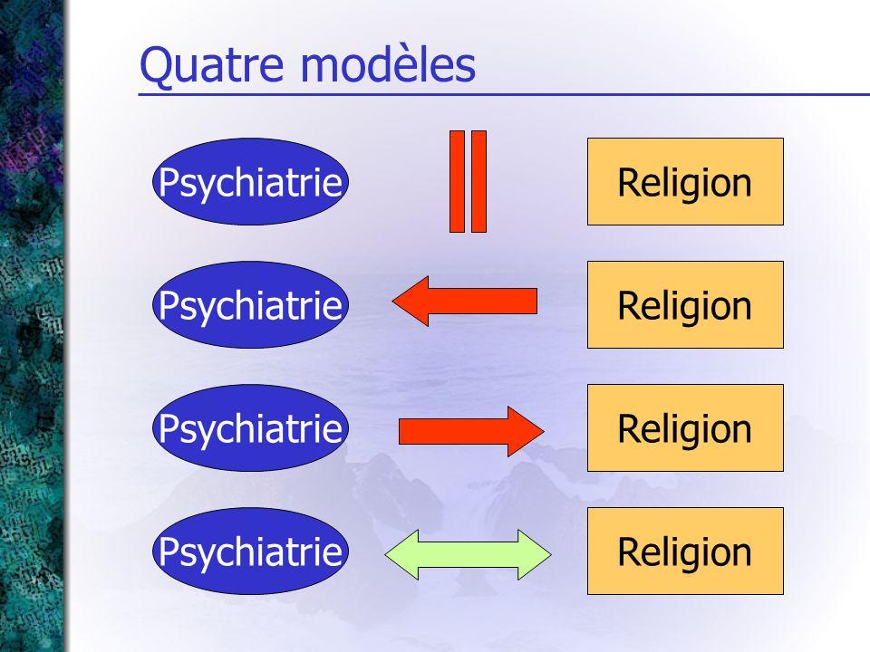 Quatre modèles Psychiatrie Religion Psychiatrie Religion Psychiatrie