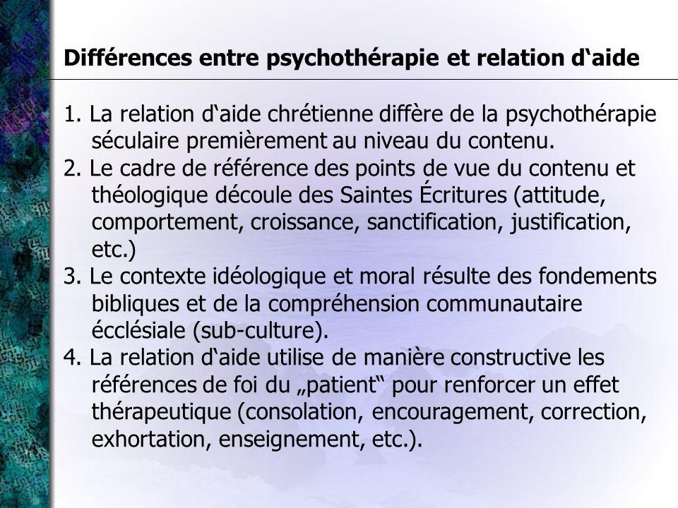 Différences entre psychothérapie et relation d'aide