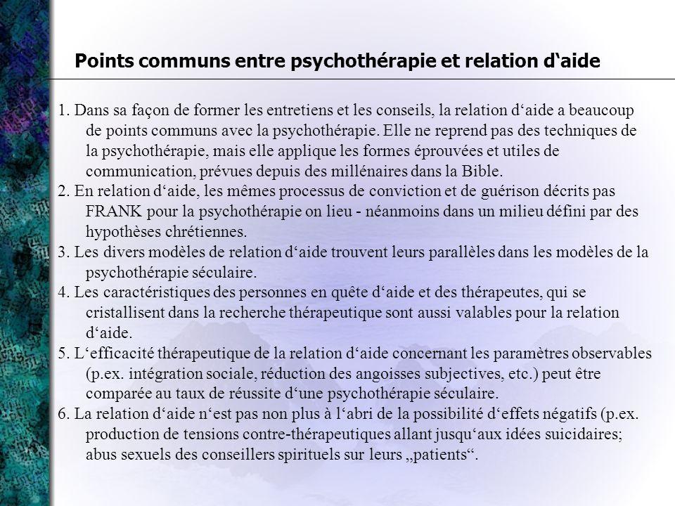 Points communs entre psychothérapie et relation d'aide