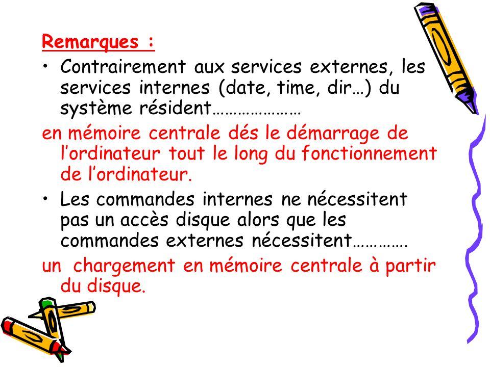 Remarques : Contrairement aux services externes, les services internes (date, time, dir…) du système résident…………………