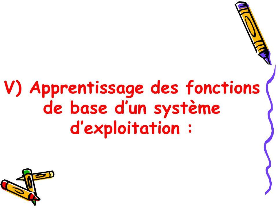 V) Apprentissage des fonctions de base d'un système d'exploitation :