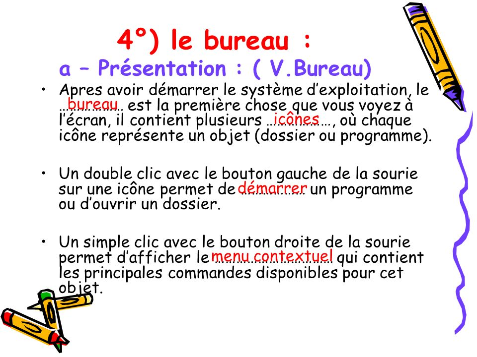 4°) le bureau : a – Présentation : ( V.Bureau)
