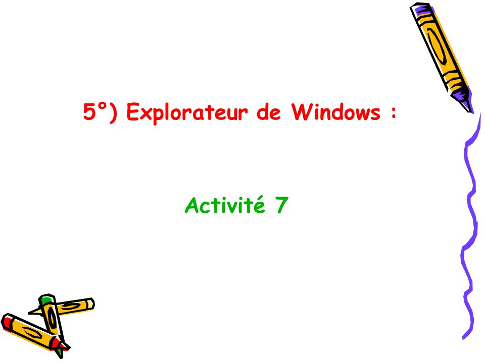 5°) Explorateur de Windows :
