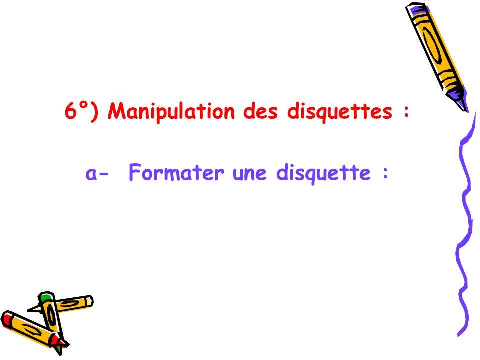 6°) Manipulation des disquettes : a- Formater une disquette :
