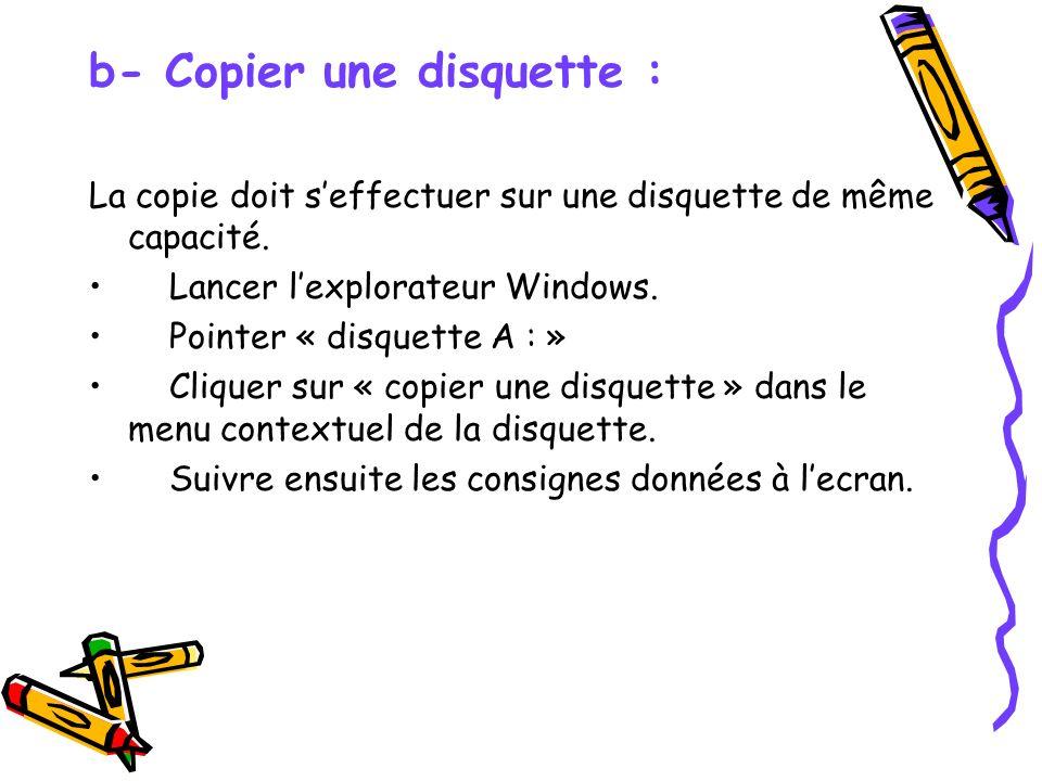 b- Copier une disquette :
