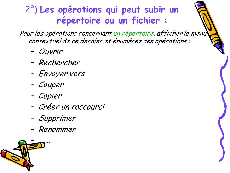 2°) Les opérations qui peut subir un répertoire ou un fichier :