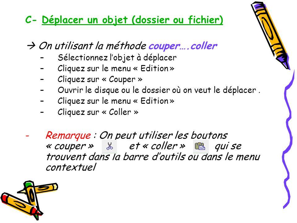 C- Déplacer un objet (dossier ou fichier)