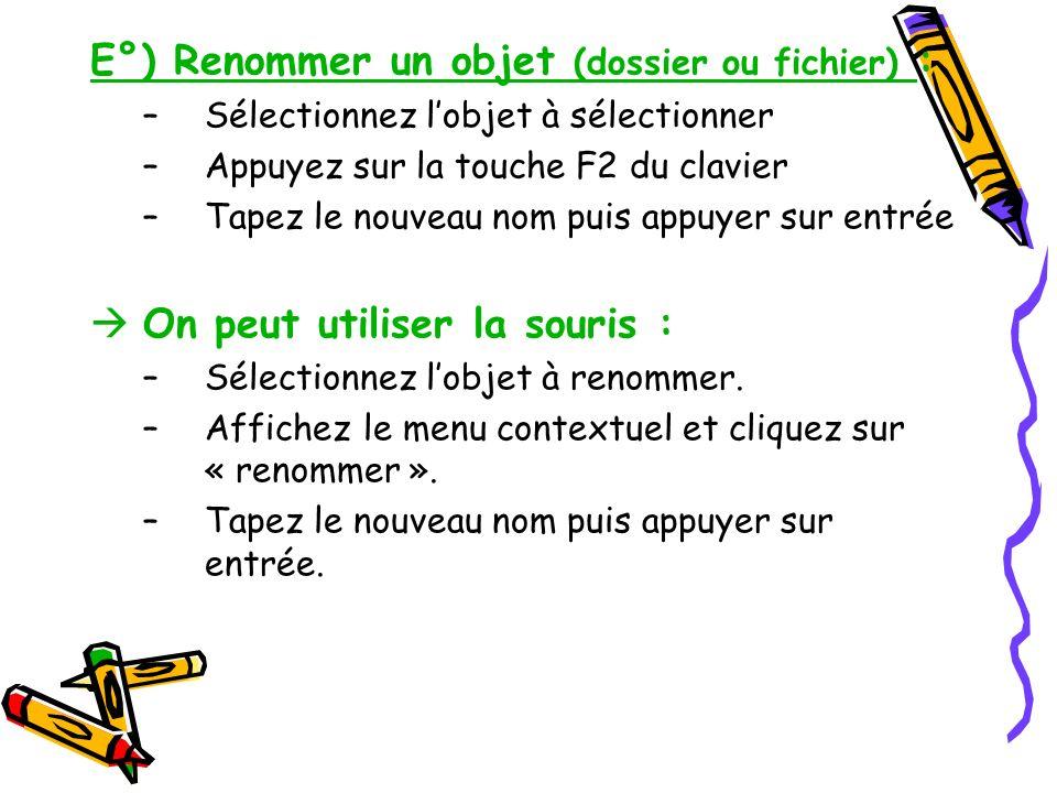 E°) Renommer un objet (dossier ou fichier) :