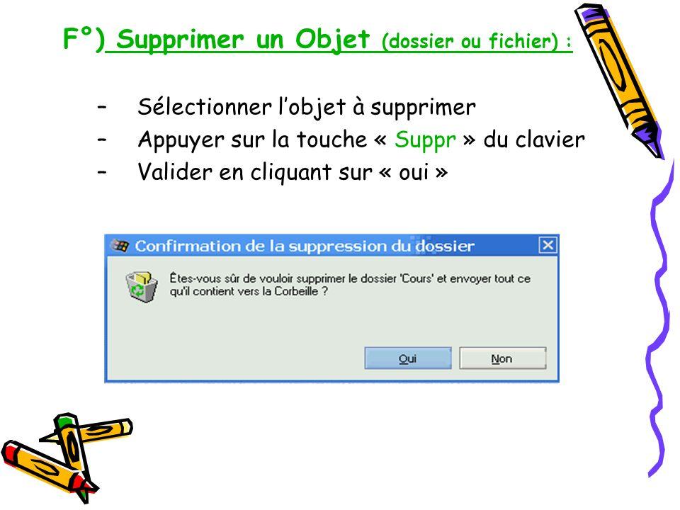F°) Supprimer un Objet (dossier ou fichier) :