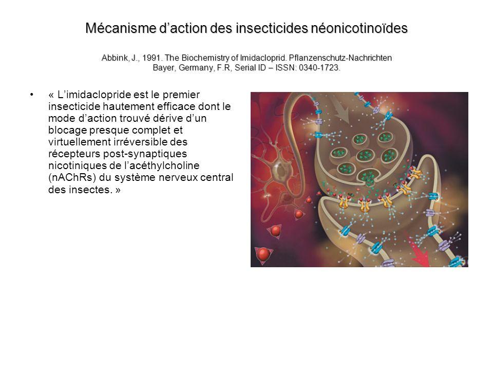 Mécanisme d'action des insecticides néonicotinoïdes Abbink, J. , 1991