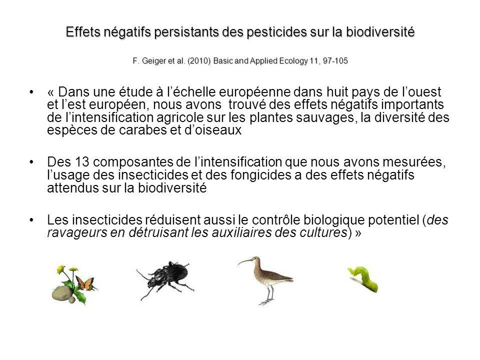 Effets négatifs persistants des pesticides sur la biodiversité F