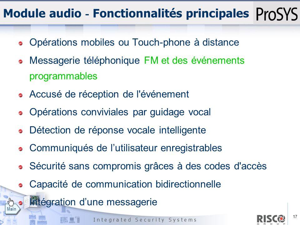 Module audio - Fonctionnalités principales