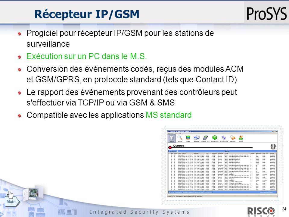 Récepteur IP/GSM Progiciel pour récepteur IP/GSM pour les stations de surveillance. Exécution sur un PC dans le M.S.
