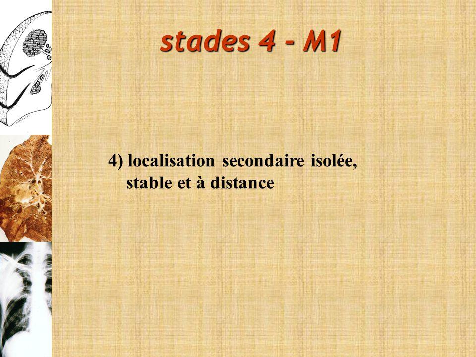 stades 4 - M1 4) localisation secondaire isolée, stable et à distance