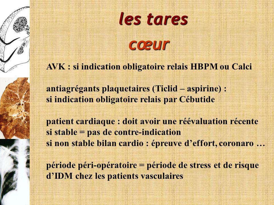les tares cœur AVK : si indication obligatoire relais HBPM ou Calci