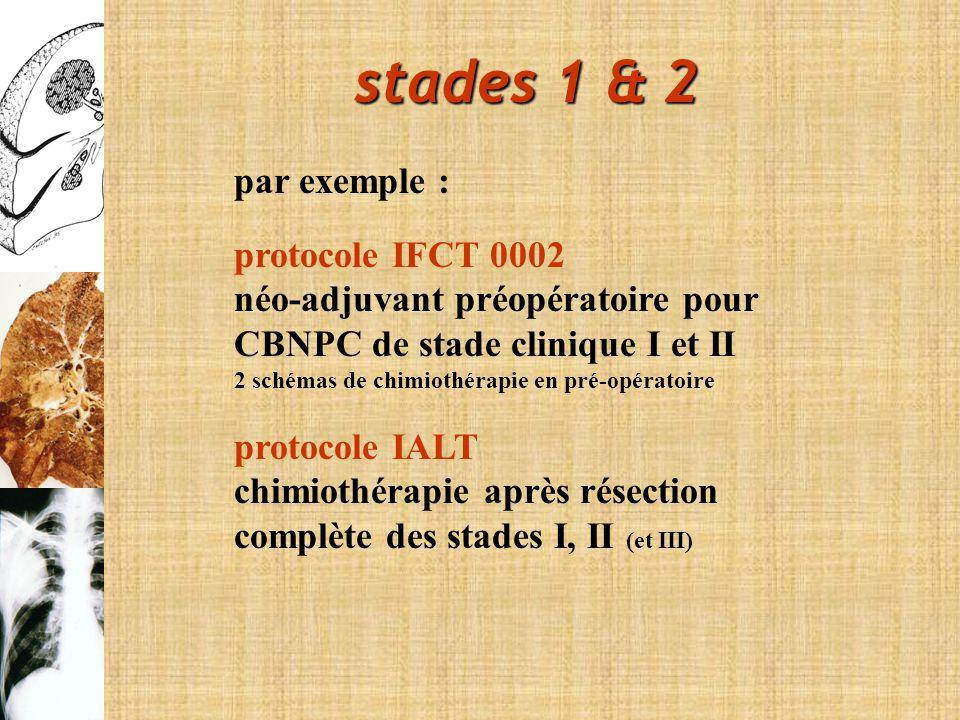 stades 1 & 2 par exemple : protocole IFCT 0002