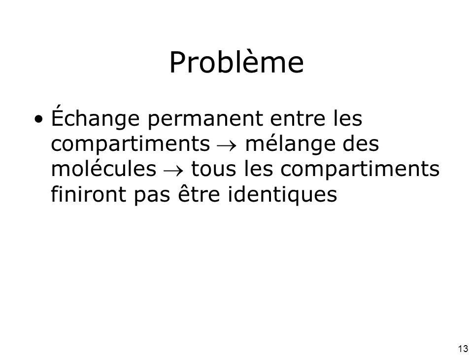 Problème Échange permanent entre les compartiments  mélange des molécules  tous les compartiments finiront pas être identiques.