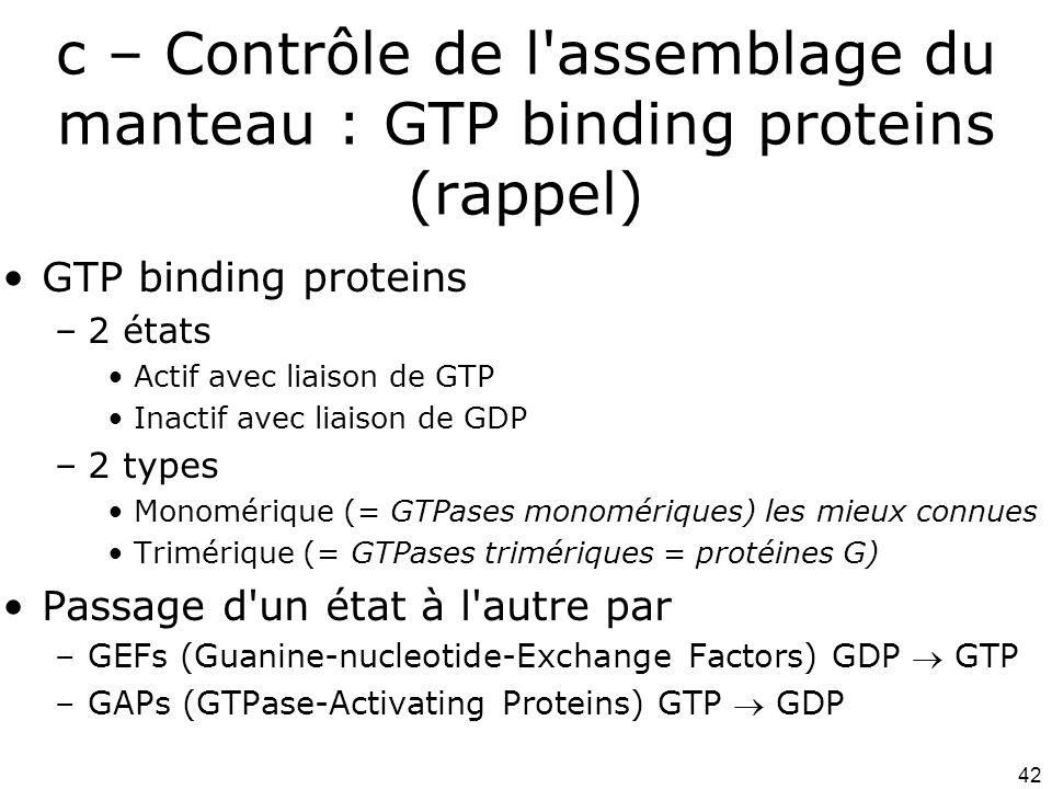 Lundi 1 octobre 2007 c – Contrôle de l assemblage du manteau : GTP binding proteins (rappel) GTP binding proteins.