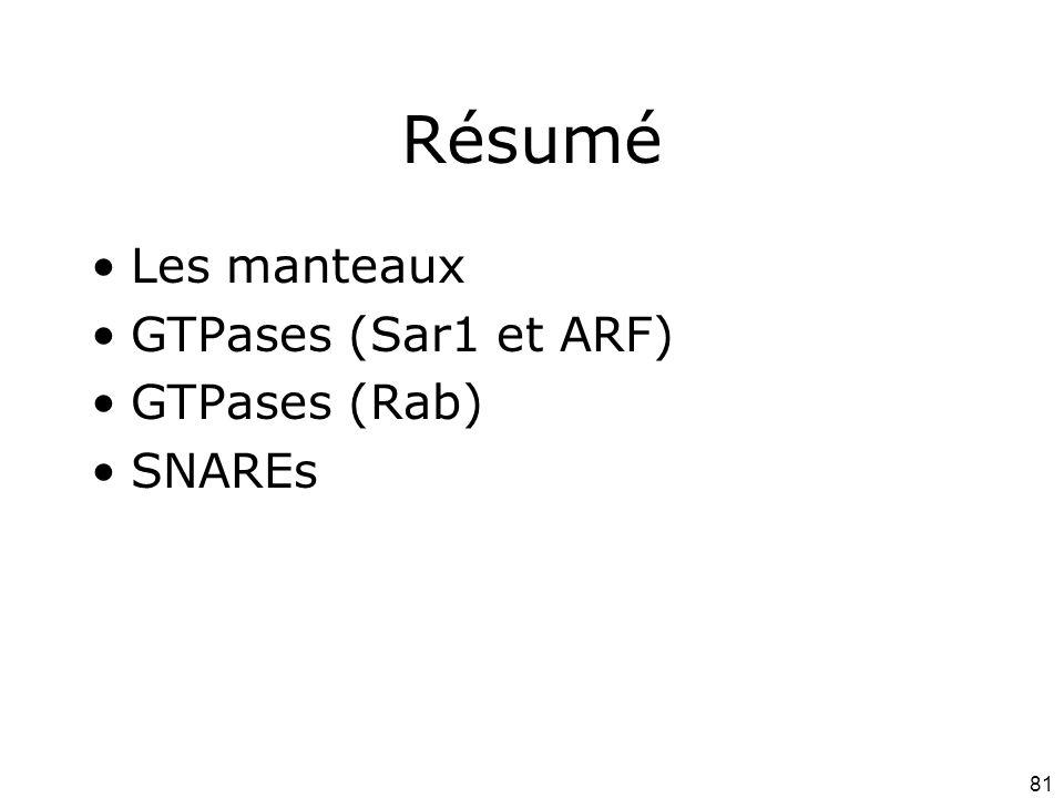 Résumé Les manteaux GTPases (Sar1 et ARF) GTPases (Rab) SNAREs