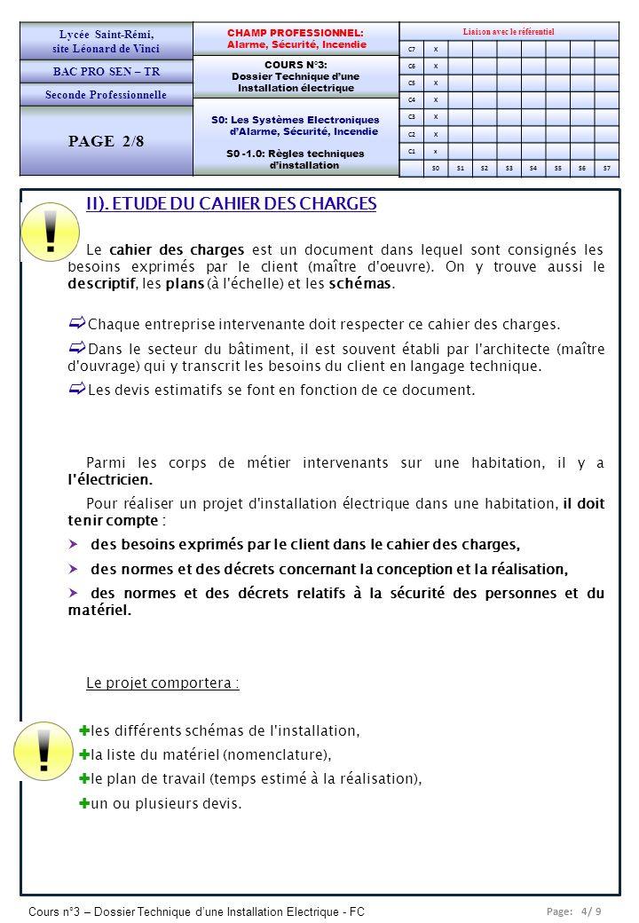 II). ETUDE DU CAHIER DES CHARGES