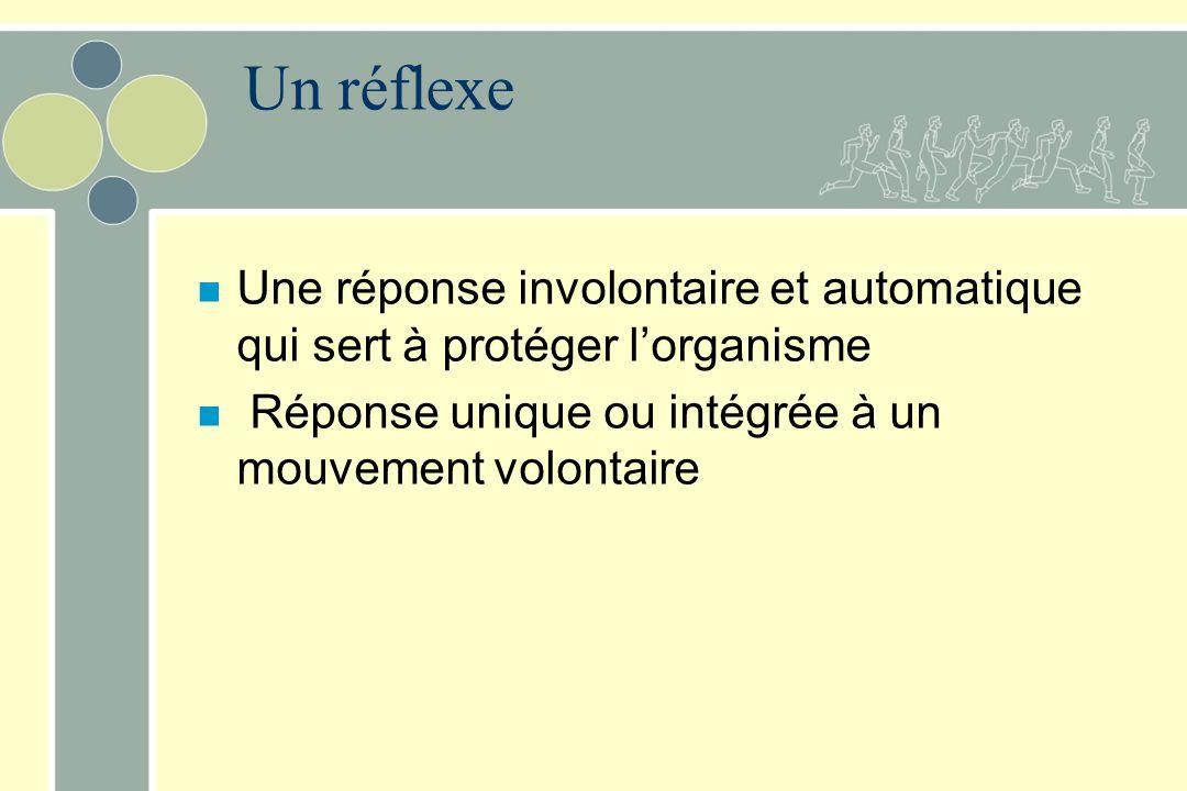 Un réflexe Une réponse involontaire et automatique qui sert à protéger l'organisme.